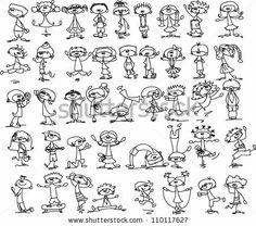 Cute happy cartoon kids - stock vector