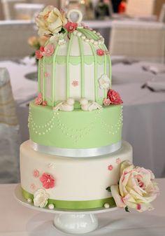 Vintage Birdcage Wedding Cake, from ButterHeartsSugar.