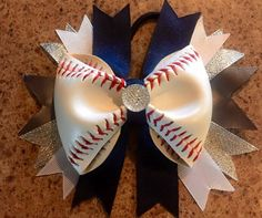 A personal favorite from my Etsy shop https://www.etsy.com/listing/241384609/baseball-cheer-hair-bow-made-from-real