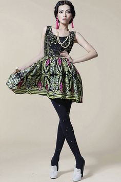 The dress made of polyester, featuring round neck, sleeveless, floral print to main, bound waist design, all in mini length cut.$96