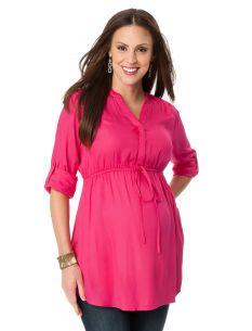 Motherhood Maternity Convertible Sleeve Tie Front Maternity Tunic