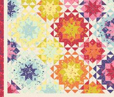Infinite version here.  This design uses the colors from Spoonflower's palette-limited Spring Flower Cheater Quilt contest. Coordinates are available here.   colourcode CC374A F792AB F7EDDB F17C43 FFEB8D DDC82F DBF1D4 B2D8D2 564B80    Coordinated fabrics in this collection.