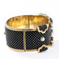 French Polka-Dot Enamel Hinged Bracelet - Lang Antiques