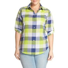 Foxcroft Check Cotton Roll Sleeve Shaped Shirt (€67) ❤ liked on Polyvore featuring plus size women's fashion, plus size clothing, plus size tops, navy, plus size, plus size cotton tops, foxcroft shirts, navy shirt and 3/4 sleeve shirts