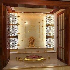 Pooja Room Door Design, Room Interior Design, Home Room Design, Interior Decorating, Temple Design For Home, Indian Home Design, Indian Home Interior, Temple Room, Home Temple