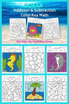 This ocean color key addition and subtraction is like an ocean color by number set for math practice. FREE addition and subtraction fact practice from The Curriculum Corner. School Age Activities, Ocean Activities, Math Activities, Maths Fun, Addition And Subtraction Practice, Math Fact Practice, Ocean Lesson Plans, Alphabet Letter Crafts, Letter Tracing