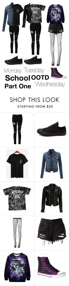 """""""School OOTD Part One"""" by sup-its-alex-peace ❤ liked on Polyvore featuring Miss Selfridge, Converse, LE3NO, VIPARO, Comme des Garçons and punkrose"""