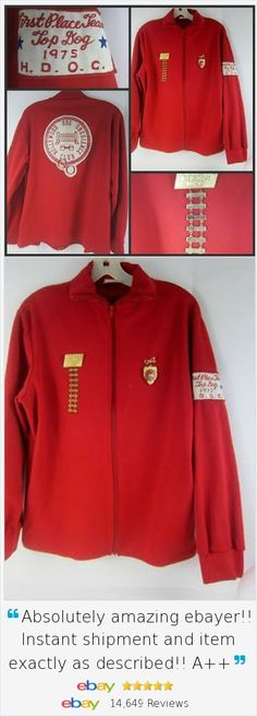"""Know a pup who is truly """"Best of Show?"""" Top Dog jacket from 1975 - doesn't get better than this unique piece of memorabilia from the Hollywood Dog Obedience Club! Vintage original red 1975 Jacket from HDOC includes a group of 1st Place Team Medals too which are collectible in their own right. Size Large lightweight jacket has patches and emblems and a great retro vibe. Where are you going to find another one?"""