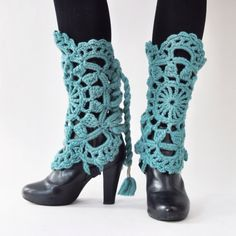 Crocheted wool legwarmers bootcuffs gaiters  by studiomyr on Etsy