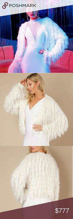 NEWDREAMY SHAG CARDIGAN Brand new Boutique item Price is firm  Oh so dreamy this Stunning Statement cream cardigan is covered in whimsical shag. Wear this goregous knitted shag cardigan over any outfit for a one-of-a-kind look! I must say I almost died when I got this cardigan in, it is simply amazing! I just had to keep one!  Fabulous made!  Material 45%acrylic 55%nylon   Vacation party cruise holiday anniversary special occasion event vegas date Christmas thanksgiving Valentine's day…