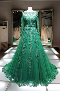 Green lace boat neck floor length handmade formal evening dress with long sleeves