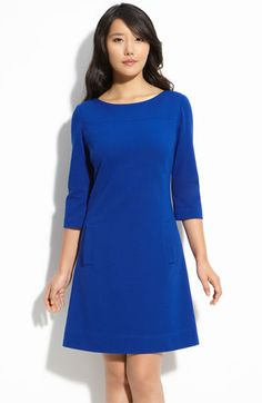 Love the color, classic cut, and material (I love all things ponte). Add layers of long chain necklaces or a skinny belt to accessorize. #plusize $132 from Nordstrom