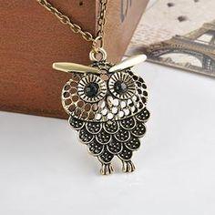Women Vintage Owl Pendant Necklace