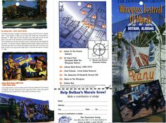 Photo of the Week 8/18/2014. Front of brochure for Wiregrass Festival of Murals, Dothan, AL. Not dated. Murals are painted on walls of downtown buildings. Map indicates downtown Dothan location, title of the mural, and short history of the event(s) depicted in the mural. From RG 130 Wiregrass Festival of Murals http://trojan.troy.edu/community/wiregrass-archives/inventories/130.html