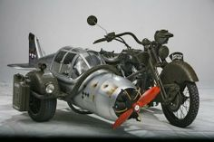 2nd WW MOTOR BIKE WITH AIRCRAFT SIDE CAR A GOOD JOKE
