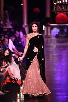 """Looking for designer lehenga inspiration? Check out the best of our curated collection of """"Best Lehenga Saree Designs"""" to choose from this wedding season. Lehenga Saree Design, Lehenga Designs, Pakistani Dress Design, Lehenga Style, Stylish Sarees, Stylish Dresses, Fashion Dresses, Saree Designs Party Wear, Bridal Lehenga Collection"""
