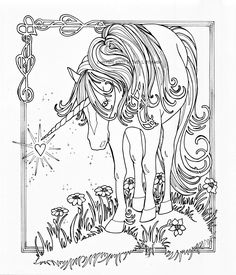 Unicorn Coloring Pages for Adults   Unicorn with Wings Coloring Pages