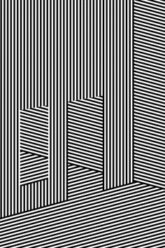 Abstract Black and White Geometric Pattern with Walls. Striped Structural Texture