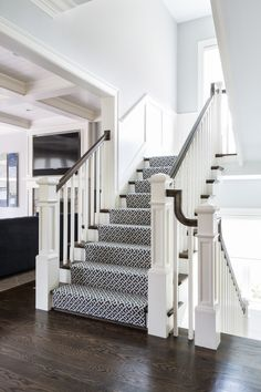 McLean II  Rich and Beautiful Staircase  Hallway  Foyer  Staircase  Craftsman  Contemporary  Transitional by Celia Welch Interiors