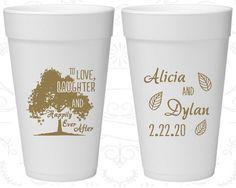 Love Laughter Wedding, Wedding Foam Cups, Fall Wedding, Rustic Wedding, Tree, Family Tree, Styrofoam Cups (268)