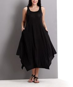 35 Look what I found on #zulily! Black Pocket Scoop Neck Maxi Dress - Plus #zulilyfinds