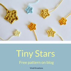 Tiny Stars - Free Crochet Pattern by Vivid Kreations. Tiny Stars - Free Crochet Pattern by Vivid Kre Crochet Applique Patterns Free, Crochet Flower Patterns, Crochet Motif, Diy Crochet, Crochet Crafts, Crochet Appliques, Free Pattern, Crochet Stars, Crochet Snowflakes