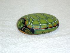 SNAPPING TURTLE lifesize painted rock pet rock koi by RockArtiste
