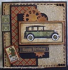 Hello! Today I have a Birthday card for a friend. I have used Graphic 45 'A Proper Gentleman' Designer paper. The Newspaper pri...