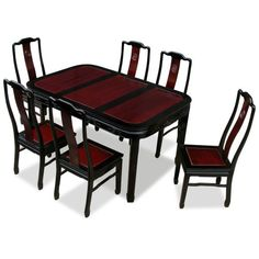 China Furniture Online Rosewood Dining Table 60 Inches Longevity Motif Set With 6 Chairs