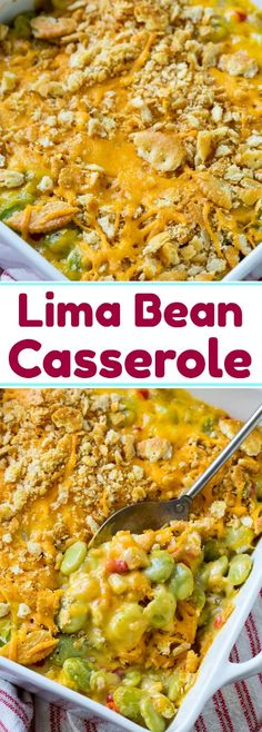 Lima Bean Casserole with cheese. #casseroles #sidedishrecipes