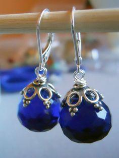 Royal Blue Earrings. Blue Earrings, Gemstone Earrings, Royal Flush Blue quartz briolette earrings, Sapphire Blue earrings on Etsy, $54.00