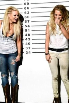 "Miranda Lambert and Carrie Underwood cracking up on the set of the ""Something Bad"" video 