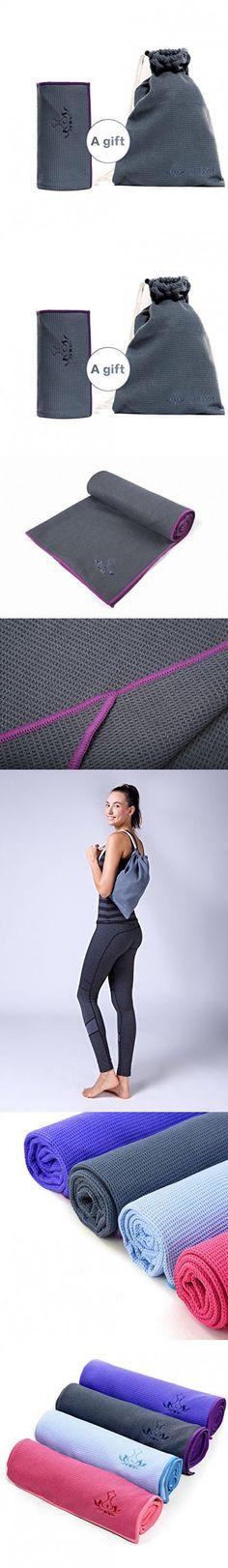 Non Slip Yoga Towel (Free Towel Bag) by Heathyoga, Silicone Anti Skid Layer, With 4 Corner Ears, Optimal grip, Super Absorbent, Microfiber, Perfect for Hot Yoga, Bikram Yoga and Ashtanga Yoga. ...