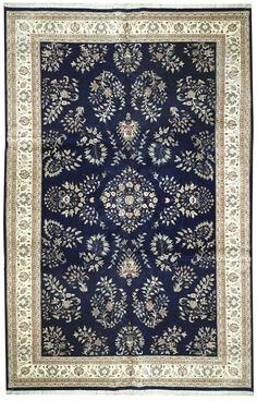 This beautiful Handmade Knotted Rectangular rug is approximately 10 x 16 New Contemporary area rug from our large collection of handmade area rugs with Persian Saruk style from India with Wool