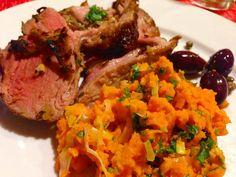 Mmm marinated crusted lamb olives with capers & carrots with leeks thanks to @fanoflamb & my chef @beauraines Nom! Medium rare garlic and lemon perfection!  ________________________________  #lamb #americanlamb #fanoflamb #ifbc #ifbc2015 #paleo #jerf #eatclean #paleodiet #paleolifestyle #cavemandiet #foodporn #foodie #foodstagram