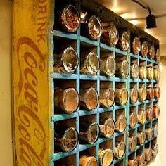 I have this in my kitchen!  Love it.  And now to find the idea on Pinterest.  Sweet!!  Old coke crate used for spice rack