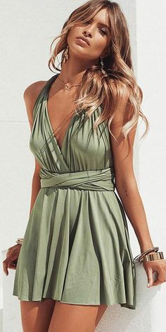 Custom Made Excellent Homecoming Dresses Short A-Line V-Neck Convertible Style Short Green Satin Homecoming Dress Date Dresses, Dresses Short, Hoco Dresses, Cute Summer Dresses, Casual Dresses, Fashion Dresses, Short Boho Dress, Green Homecoming Dresses, Short Green Dress