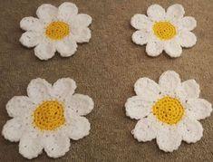 Lovely Handmade Crochet Daisy Coasters - set of 4 #handmade #crochet #daisy #coaster