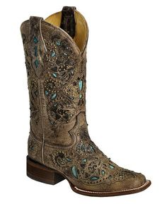 Corral Studded Turquoise Leather Inlay Cowgirl Boots - Square Toe