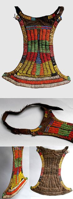 Africa | Adolescent girls apron (cache sexe ) ~ 'Akwalac' ~ from the Toposa people of Southern Sudan | Leather decorated with glass, metal and ostrich shell beads | Mid 20th century