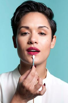 To achieve a blurred, berry lip, apply one coat of Nars Matte Velvet Lipstick in Damned. Then, take a Q-tip and soften the outer edge of the lips with a light dabbing.