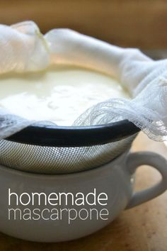 What a great DIY project --- this homemade mascarpone is identical to the pricey store bought stuff --- and it's so luxurious! (Homemade Cheese Making) Cheese Recipes, Cooking Recipes, Fresh Cheese Recipe, Dairy Recipes, Fromage Cheese, Do It Yourself Food, Homemade Cheese, How To Make Cheese, Making Cheese