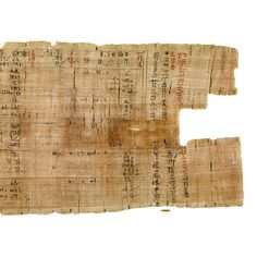 Rhind Mathematical Papyrus.  Thebes, Egypt, end of the Second Intermediate Period, around 1550 BC.  A number of documents have survived that allow us insight into the ancient Egyptians' approach to mathematics. This papyrus is the most extensive.