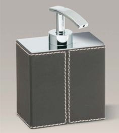 Zodiac Bedroom Bathroom Decorative Accessory Soap Dispenser Brass Chrome  Brown Leather Harlequin London