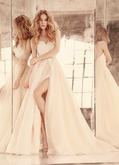 Peyton -- Blush organza bridal ball gown with strapless sweetheart neckline and full skirt with slit at front // Hayley Paige Bridal Gowns Fall 2015 Collection
