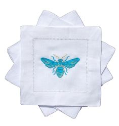 THE WELL APPOINTED HOUSE - Luxuries for the Home - THE WELL APPOINTED HOME Set of Four Bees Knees Embroidered Turquoise Butterfly Cocktail Napkins