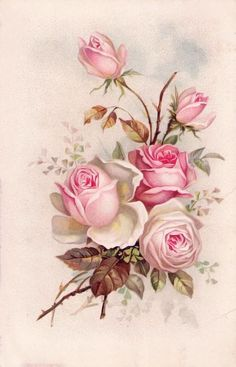 Delcampe – The greatest marketplace for collectors - Blumen Vintage Cards, Vintage Paper, Vintage Images, Flower Images, Flower Art, Photo Rose, Decoupage Printables, Illustration Blume, Free Printable Art