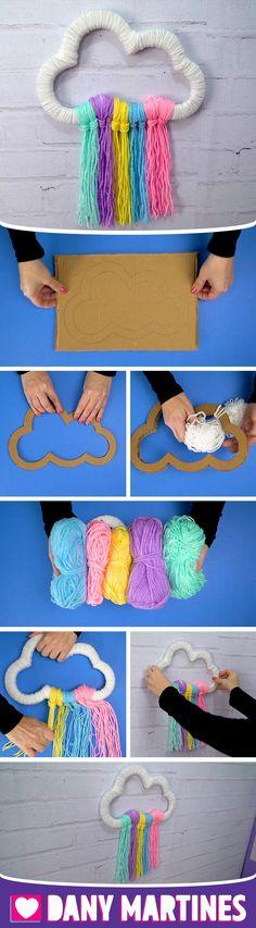 Dıy (do it yourself) - Faça você mesmo uma Nuvem Chuva de Arco-Íris, fofinha. Diy Arts And Crafts, Diy Crafts To Sell, Home Crafts, Diy Halloween, Diy For Kids, Crafts For Kids, Do It Yourself Decoration, Yarn Wall Hanging, Ideias Diy
