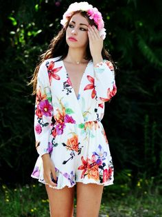 Flower crown + floral romper #styleinspiration