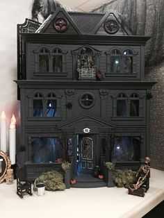 An old Fisher Price dollhouse dressed for Halloween. Halloween Prop, Halloween Village, Halloween Haunted Houses, Holidays Halloween, Vintage Halloween, Halloween Crafts, Halloween Countdown, Happy Halloween, Gothic Halloween Decorations